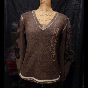 Distressed Embellished Vintage Sweater(sz XL)